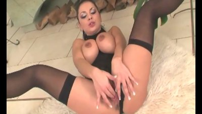 Busty milf fucking in black lingerie and heels