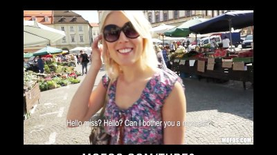 Blond Czech exhibitionist bounces her...