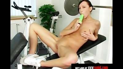 Brunette Exercises and Masturbates