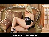 Natural blonde teen rubs herself to an intense orgasm on camera