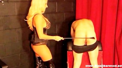 Blonde goddess punishes pathetic slave for wanking his cock