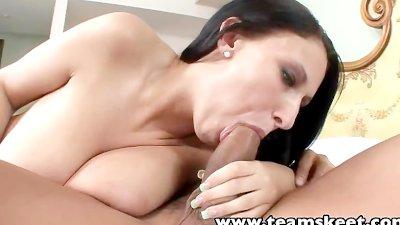 TeamSkeet Busty brunette babe Bella Blaze tit fucks Asian guy