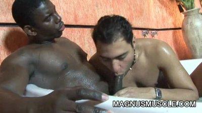 Hunter Corbin And Robert Gaucho In Wet Interracial Fucking