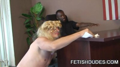 Ebony stud humiliating a hot DILF