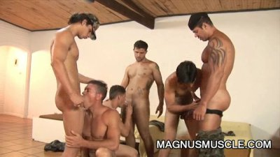 Muscle soldiers having steamy group sex