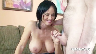 Busty housewife Melissa Swallows riding a cock