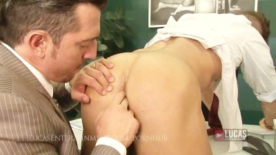 Hot straight businessman pounds his assistant
