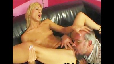 Teen rides old cock like a pro
