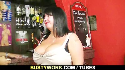BBW barmaid is doggystyled at workplace