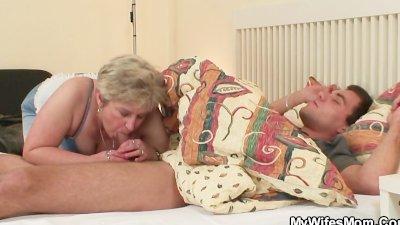 Cock hungry granny fucks her s
