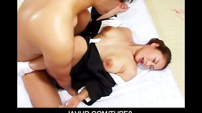 Asian babe in kimono stripping off and hardcore fucking