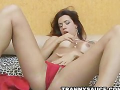 Patricia Sabatini slowly removing her red lingerie
