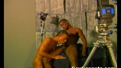 Gay Sucking Black Cock with Soft Dildo