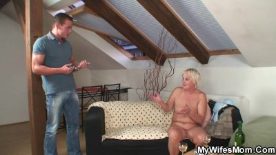 Drunk orgy with horny granny and her son in law