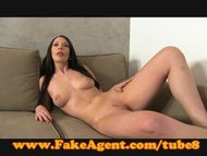 FakeAgent Hot brunette takes first time creampie
