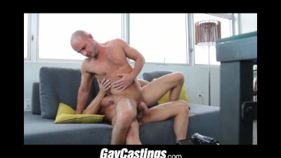 GayCastings thick dick fucks leather SF otter on casting couch