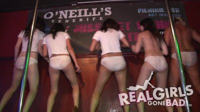 drunk sexy college girls wet t-shirt contest with backstage handjob