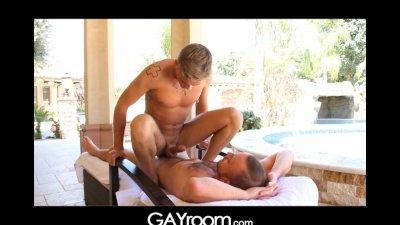 GayRoom daddy seduces tattoo hunk on patio