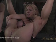 Two Milfs and a Flexible Fiery Latina Bound and Fucked