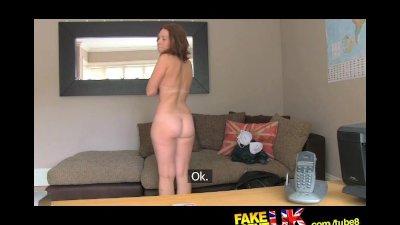 FakeAgentUK Sexy busty redhead receives huge unwanted creampie
