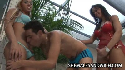 Sabrina Alves And La Belle Sandorran - Two Shemales Bangin A Handsome Guy