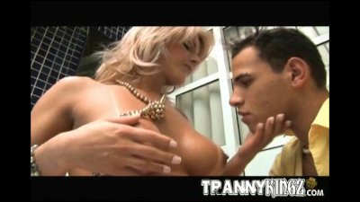 Busty Tranny Gets Juicy Anal Fucked