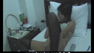 Asian amateur with dildo then cock