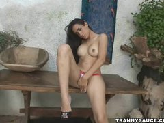 brunette tranny touching her hot body all over
