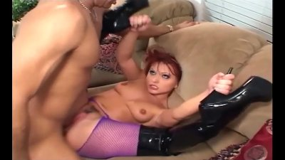 Anal in thigh high boots and fishnet pantyhose