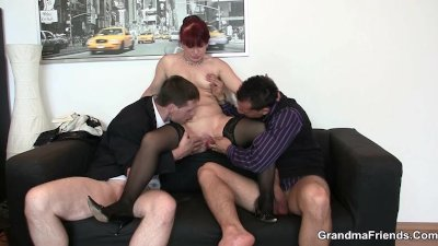 Mature office bitch enjoys two