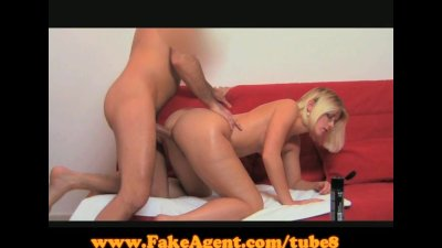 FakeAgent Glasses babe gets spunked over