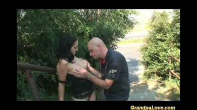 Grandpa fucking a nice brunette babe and giving oral sex