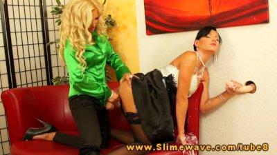 Jenna Lovely fucks Ema ebony with a huge fake dick