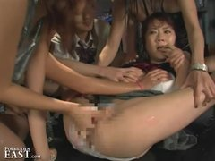 Japanese FemDom Catfight Party Group Torments Pretty Submissive in Panties