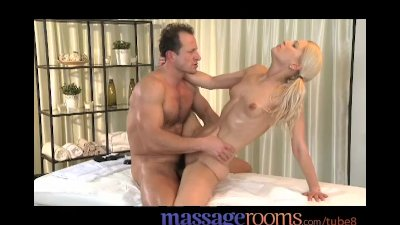 Massage Rooms Young masseuse gets oiled before taking multiple cum shots