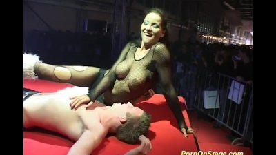 strapon sex show on public sta
