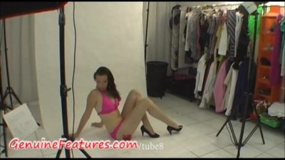 Behind the scene with shy hottie