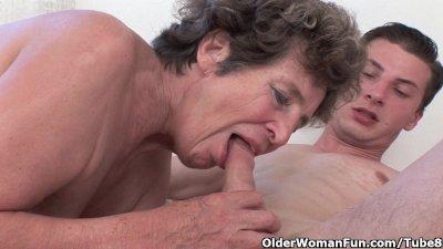 Cock hungry grandma loves anal sex