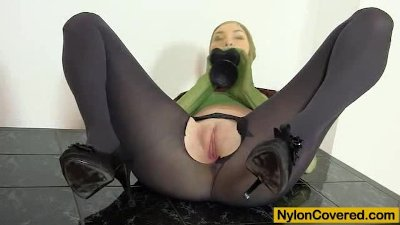 Good-looking body Kattie Gold wears nylon mask