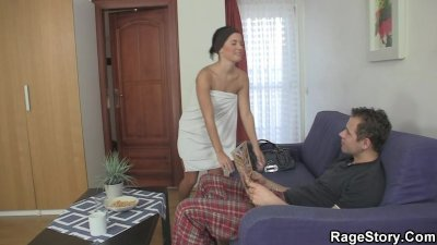 Slutty GF takes it rough after shower