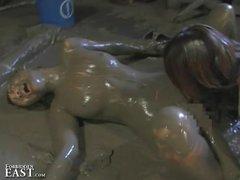 More Japanese FemDom Messy Mud Wrestling   Strange But True
