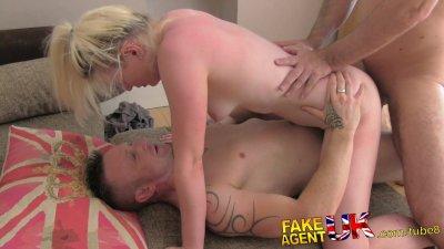 FakeAgentUK Agents cock makes boyfriend jealous in threesome casting