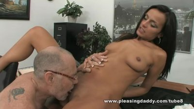 Cute young slut gets fucked by her older boss on his office desk