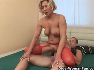 Reverse cowgirl/mature/fucked lustful sucks and granny