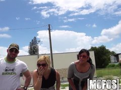 Preview 1 of Mofos - Naughty Girls Flash Cars And Get Pounded