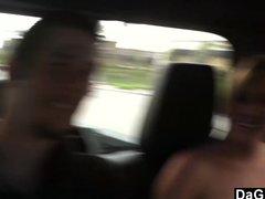 Naïve Girlfriend Shows Tits In The Car