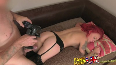 FakeAgentUK Petite redhead with great tits and pert ass gets cum splattered