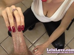 Lelu Love Red Nails CFNM Handjob Cumshot