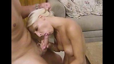 Busty blonde Sammy sucking cock like a pro