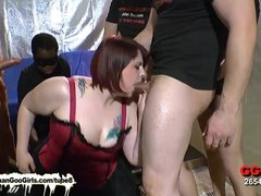 Preview 7 of Sexy Bbw Babe Kim Gets Her Mouth Fucked By A Group Of Guys